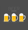 three glasses beer vector image
