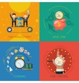 Time Management Flat Icons Square Composition vector image vector image