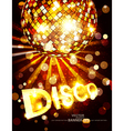 Vertical disco background with golden disco ball