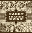 vintage happy thanksgiving card brown vector image vector image