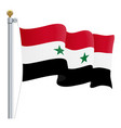 waving syria flag isolated on a white background vector image vector image