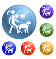 woman blind dog guide icons set vector image