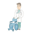 young caucasian doctor pushing wheelchair vector image vector image