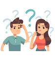 young troubled couple confused woman and man vector image