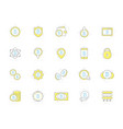 set of colored bitcoin icons investments vector image