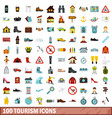 100 tourism icons set flat style vector image vector image