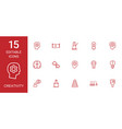 15 creativity icons vector image vector image