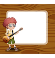 A boy with a guitar standing in front of the empty vector image vector image