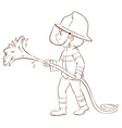 A plain sketch of a fireman holding a hose vector image