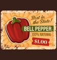 bell pepper farm rusty metal plate vector image vector image