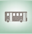 bus simple sign brown flax icon on green vector image
