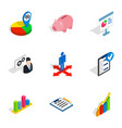 Business optimization icons isometric 3d style