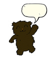 cartoon waving black bear with speech bubble vector image vector image