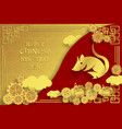 chinese new year 2020 greeting card wth cute rat vector image