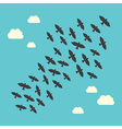Conceptual birds flying upwards vector image vector image