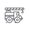 crane arm car line icon sign vector image vector image