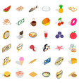 delicious food icons set isometric style vector image vector image