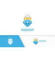 diamond and shop logo combination jewelry vector image vector image