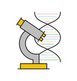 dna molecule with microscope vector image vector image
