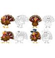 doodle character for wild turkeys vector image