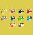 flat icons set of concept in paper sticker style vector image vector image