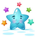 funy cute blue star vector image