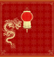 golden Chinese dragon on a red background vector image vector image