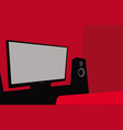 home cinema a room with a large tv and speakers vector image