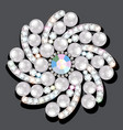 Jewelry gold brooch flower in gems with pearls