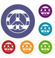 lgbt peace sign icons set vector image vector image