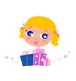 little cute girl with christmas gifts vector image vector image