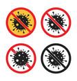 no virus sign stop coronavirus icon set vector image
