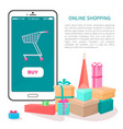 online shopping poster buy button on smartphone vector image vector image