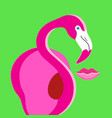 poster pink flamingo on green background vector image