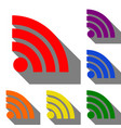 rss sign set of red orange yellow vector image vector image
