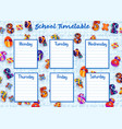 school timetable weekly schedule with numbers vector image