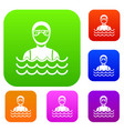 scuba diver man in diving suit set collection vector image vector image