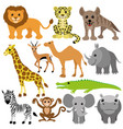 set of cheerful animals vector image vector image