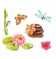 set of feng shui symbols watercolor of lotus vector image vector image