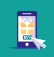 shopping online with smartphone and gift box vector image vector image