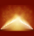 spotlights with stage on smoke red warm background vector image vector image