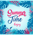 Summer time card tropical plants and palm tree