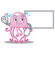 thumbs up with board cute jellyfish character vector image vector image