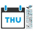 Thursday Calendar Page Flat Icon With Bonus vector image vector image