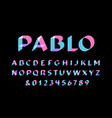transparent font alphabet with overlay effect vector image vector image