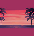 tropical sunrise with silhouette palm trees vector image