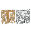vintage initial letter t with baroque decoration vector image