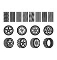 wheel tires car trace imprints vehicle track vector image