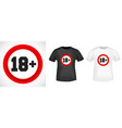 18 age restriction t shirt print stamp vector image vector image