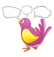 A purple bird with empty callouts vector image vector image
